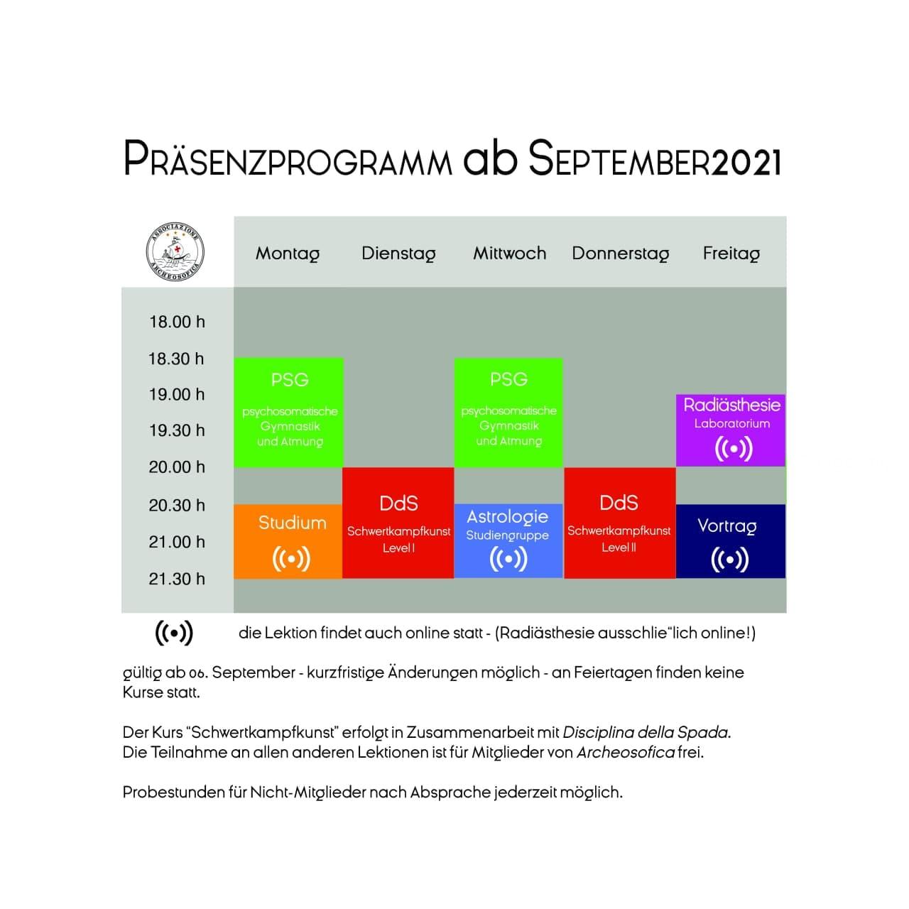 Präsensprogramm ab September 2021